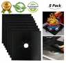 Stove Burner Covers Gas Stove Protectors Reusable Gas Range Covers Non-stick Stovetop Burner Liners  Double Thickness, BPA Free, Non-Toxic, Heat Resistant, Cuttable and Easy to Clean Black 8 Pcs