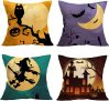 Halloween Pillow Covers 18×18 Set of 4 Linen Blend Square Burlap Decorative Throw Pillowslip Cushion Cover