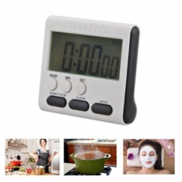 Square Magnetic Large LCD Digital Kitchen Timer Count Up Down Alarm Clock 24 Hours with back stand