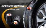 CKAuto 4 Pack Football Tire Valve Stem Caps, Black Anodized Aluminum Tire Valve Cap Set, Corrosion Resistant, Universal Stem Covers for Cars, Trucks, Motorcycles, SUVs and Bikes